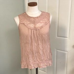 274ef09f849 Knox Rose Tops   Dusty Rose Blush Pink Lace Flowy Blouse Tank Top ...